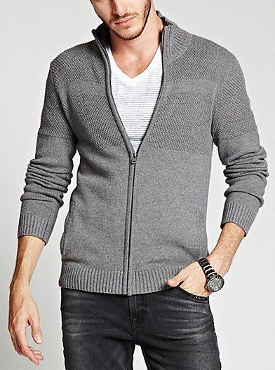 Dawson Full-Zip Mock-Neck Sweater | GUESS.com