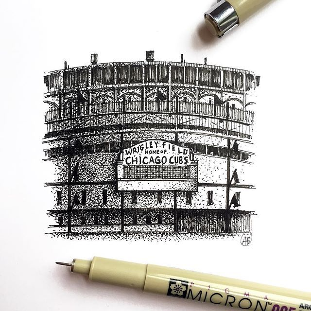 """Chicago Cubs win the World Series!!! 25% off these 5""""x5"""" prints in the shop! (Link in bio) #andrewbanksillustration #chicagocubs #chicago #gocubsgo #wrigley #wrigleyfield #wrigleyville #baseball #worldseries #cubs #cubswin #chigram #igerschicago #timeoutchicago #mychicagopix #flythew #cubsbaseball #cubsfans #chiarchitecture #chitecture #ink #pigmamicron #arqsketch #archisketcher #arch_more #flythew"""