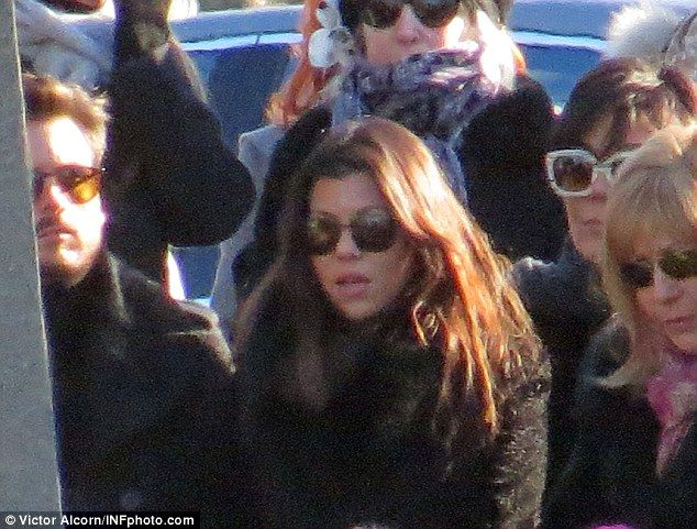 Support: A grieving Scott Disick (left) was surrounded by girlfriend Kourtney Kardashian (center) and Kris Jenner (right) when he laid his father Jeffrey to rest on Thursday *** unusual for both seemingly healthy parents to die within 3 months of each other.