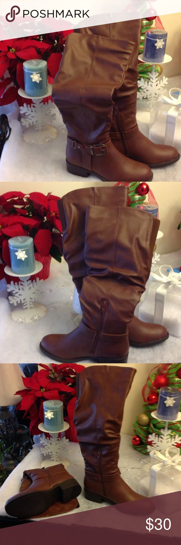 New pair of Ladies Cognac color boots wide calf Brand New Pair of Ladies high top boots wide calf Apt 9 Shoes Heeled Boots