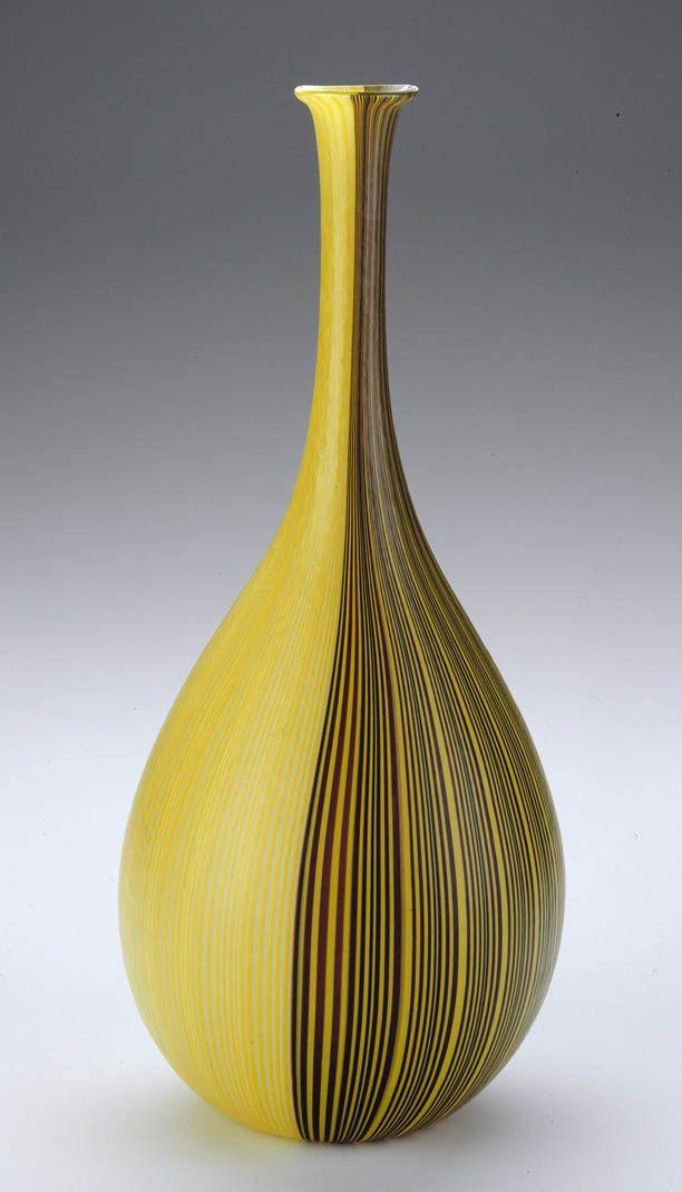 Glass Ocra Vase by Carlo Scarpa: 'Tessuto Vase' blown glass Venini Murano Glass