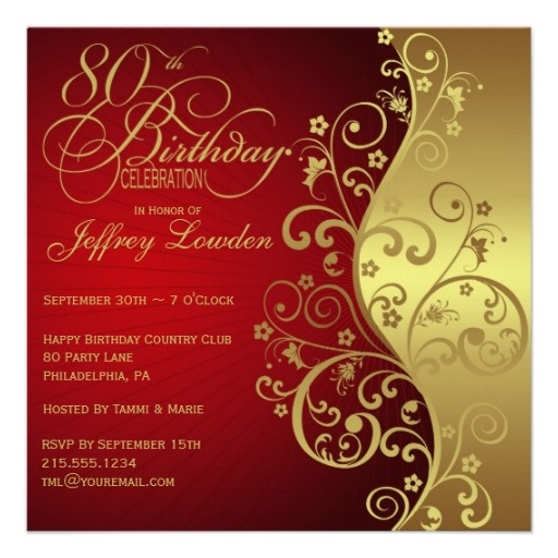 98 best 80th Birthday Party images on Pinterest Birthday party - fresh birthday party invitation designs