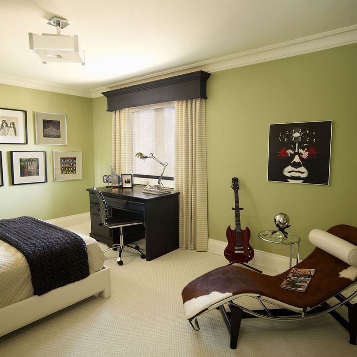 add a dark painted cornice to son's room with dark desk