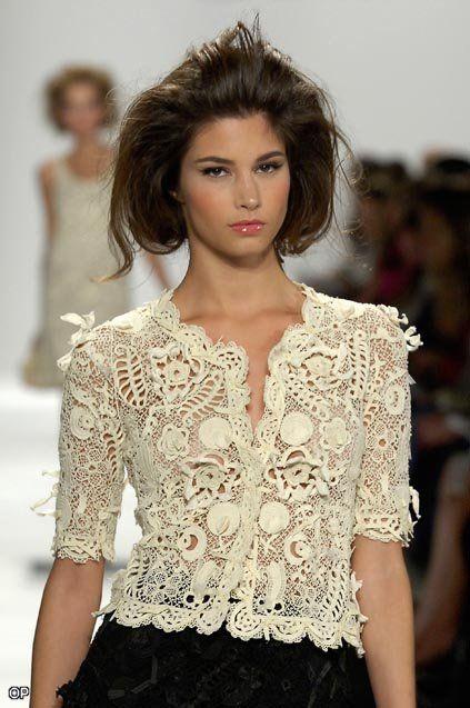 Lançamento de roupa de crochê. Irish crochet blouse