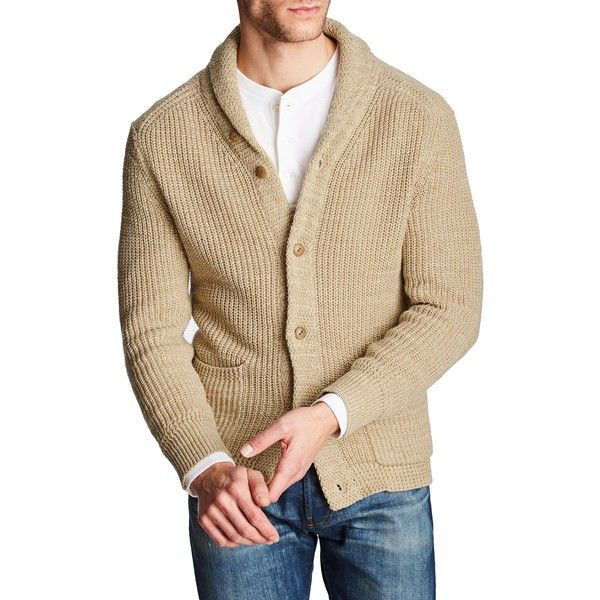 Cotton Blend Shawl Cardigan ($195) ❤ liked on Polyvore featuring mens fashion, mens