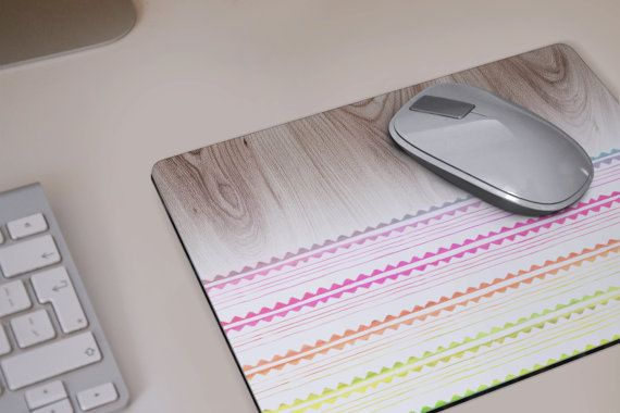Cute MOUSE PAD wood print Mousepad white pink green by DeWadaSTORE