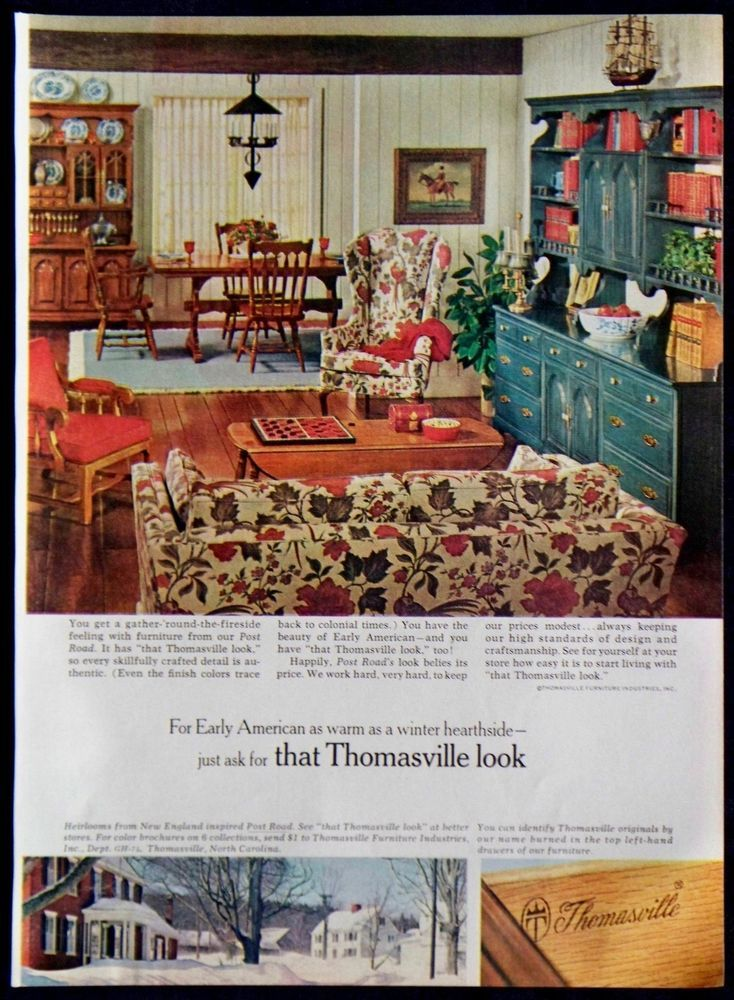 Vintage Early American Furniture Magazine Ad | 1967 Thomasville Early American Furniture Magazine Ad | eBay