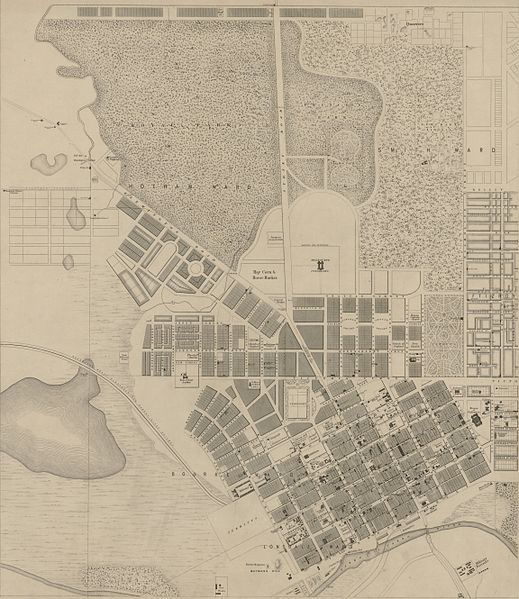 Map of Melbourne in 1855 with the Hoddle grid already established in 1837.