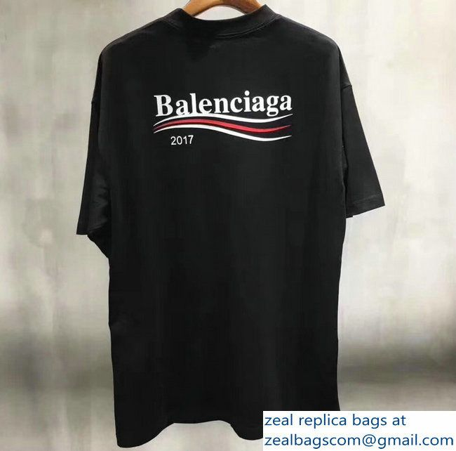 fee3397b Balenciaga 2017 Print Political Campain Logo T-shirt Black | Luxury ...