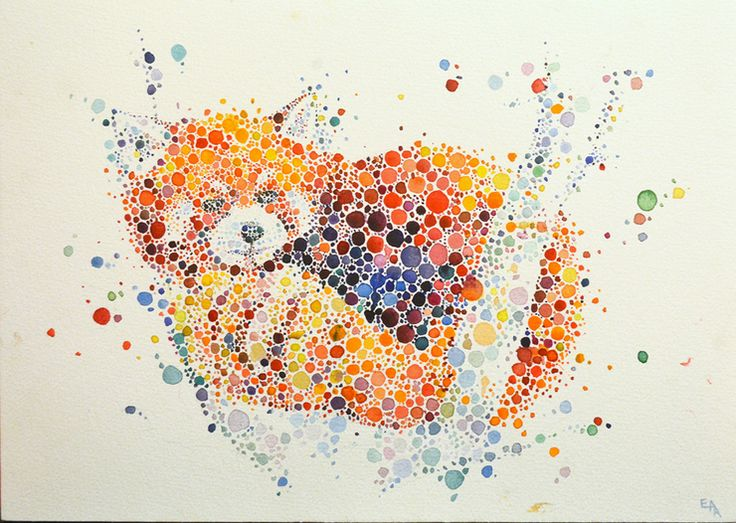 Animal Paintings Made From Hundreds Of Colored Dots http://designwrld.com/animal-paintings-made-from-hundreds-of-colored-dots/