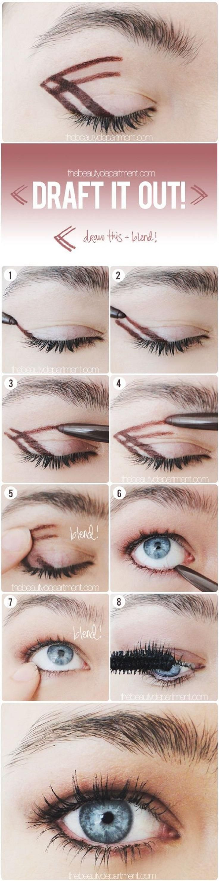Easy brown eye pencil shadow look.