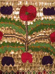 Tsevres from Thrace - stylized poppies and tulips Silk thread and silver wire on cotton - Counted thread and satin stitches