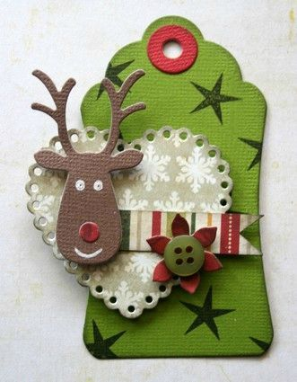 reindeer gift tag . . . need to find this tag cut, I love it's shape