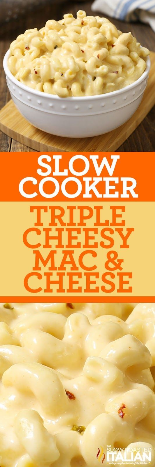 Slow Cooker Triple Cheesy Mac and Cheese (With Video and Giveaway)  is a simple recipe that you can toss together in just 5 minutes. It is truly one of our favorite recipes in our book! It's pure comfort in a bowl, with perfectly tender corkscrew pasta with twists and ridges that capture the luscious pepper Jack and cheddar cheese sauce. It has just enough heat to wake up your taste buds.
