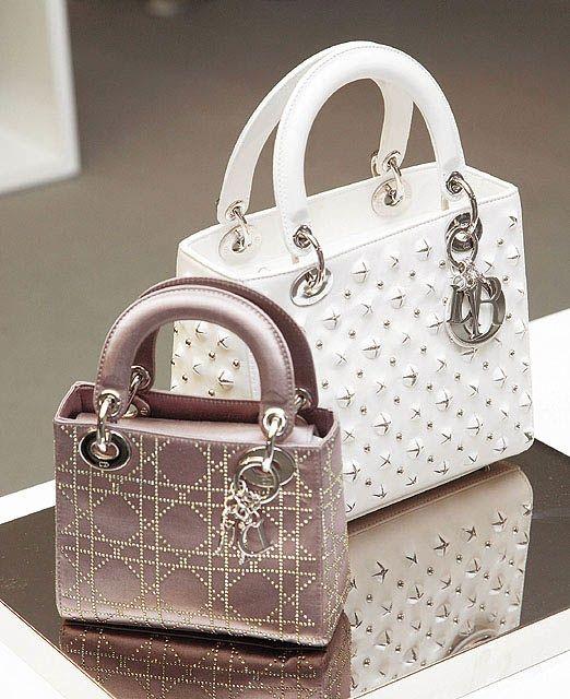Dior Nude Satin Swarovski Micro / White Studded Medium Lady Dior Bag  #dior #handbags