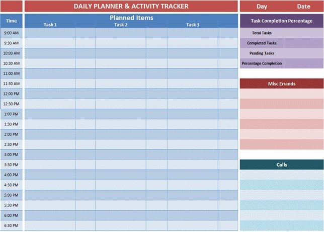 excel day planner template