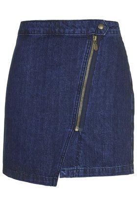 MOTO Denim Zip Wrap Skirt