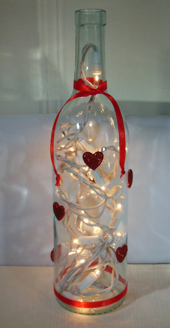 Valentines Wine Bottle Lamp with Red Hearts by EcoArtbyNancy, $23.00