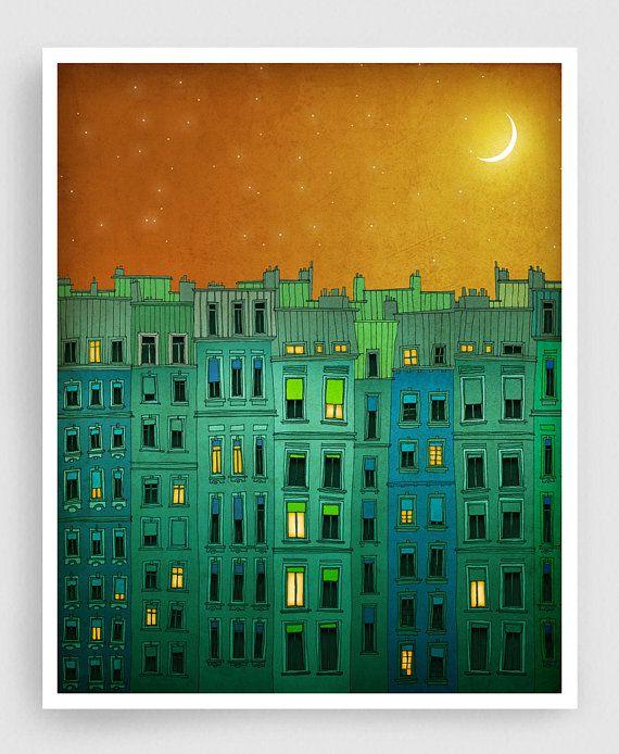 Parijs illustration gouden nacht II. Illustratie van de door tubidu