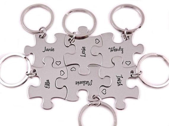 Bridesmaid Gift  Puzzle Piece Set Hand Stamped by Stampressions, $30.00
