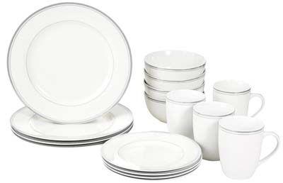 5. AmazonBasics Café Stripe Dinnerware Set