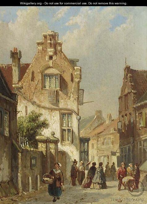 Elegant figures in a sunlit street - Adrianus Eversen
