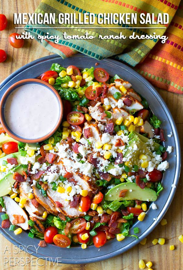 Fresh and zesty Mexican Grilled Chicken Salad on ASpicyPerspective.com #grilledchicken #salad