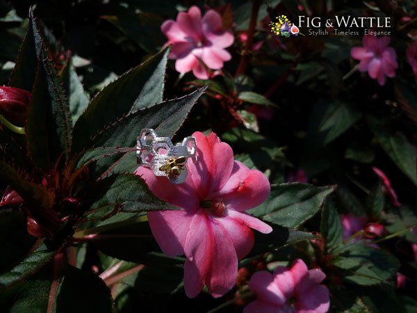 Product of the Week; Honeycomb Ring. This beautiful sterling silver adjustable honeycomb ring complete with resident bee is as amazing as real honeycomb with its geometric perfection. www.figandwattle.com.au . . . #figandwattle #honeybee #bee #honey #nature #silver #jewellery