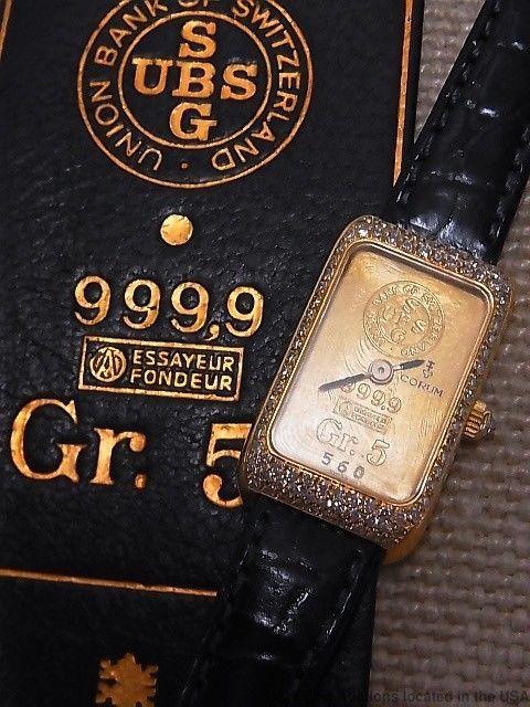 Corum 5g Gold Bar 18K Gold Diamond Ladies Watch plus 1g Ingot w Original Case  #Corum