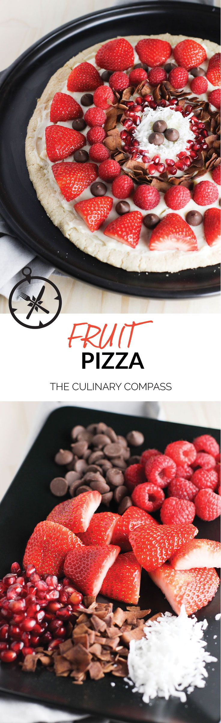 This Fruit Pizza is so easy to throw together and perfect to dress up for any occasion! via @culinarycompass