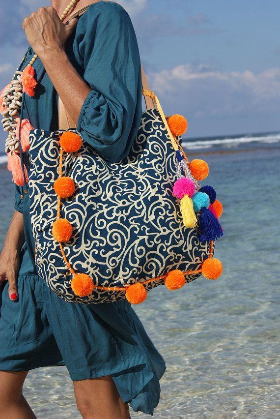 Pom Pom playa bolso o borlas playa bolsos bolso/Boho bolso