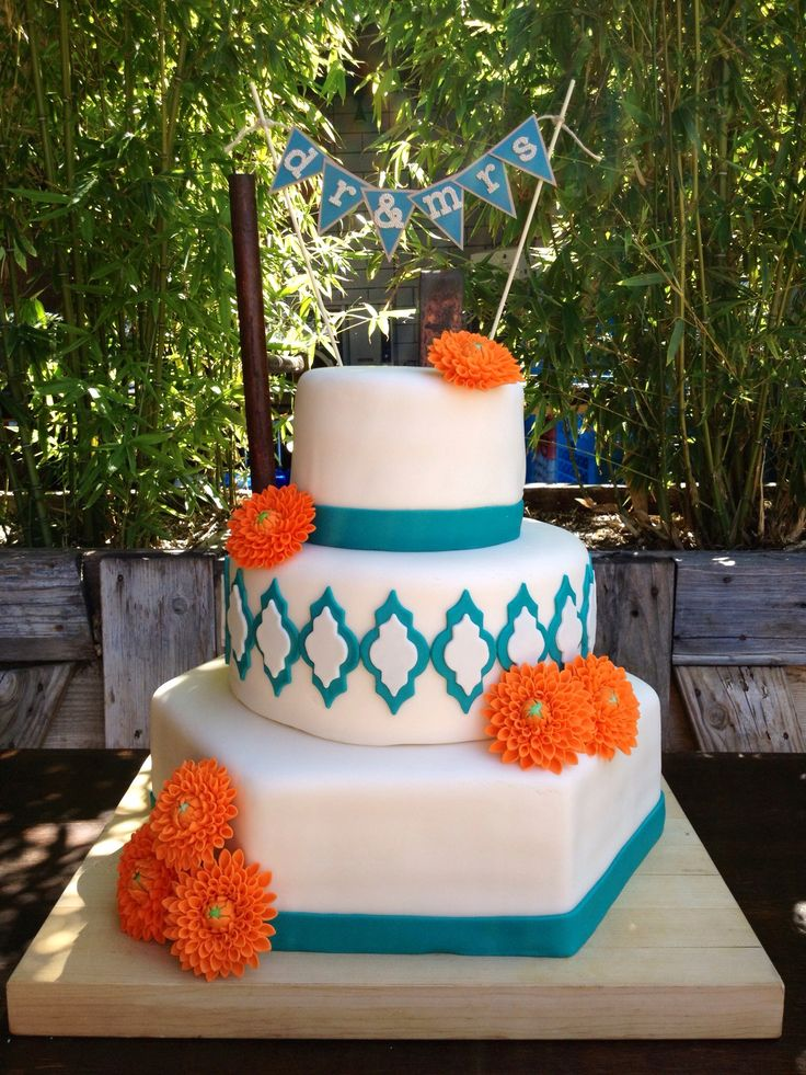 My First Wedding Cake Lemon Curd Raspberry Jam Blue Orange