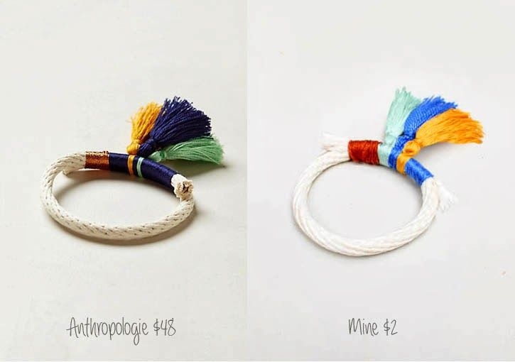 Gina Michele: diy anthropologie tassled rope bracelet tutorial - would also make lovely napkin rings
