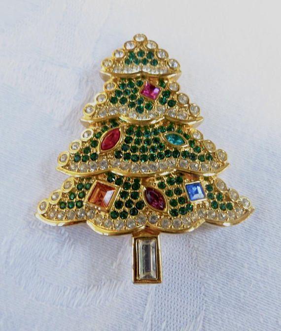 Broche Noel Swarovski Pin sapin de Noël Noël broche Limited Edition | Vintage