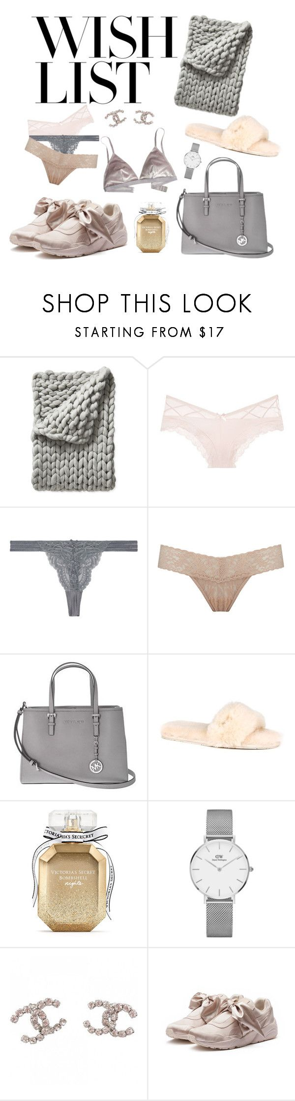 """#PolyPresents: Wish List"" by stellasfashion0 ❤ liked on Polyvore featuring Serena & Lily, Victoria's Secret, STELLA McCARTNEY, Hanky Panky, Michael Kors, UGG Australia, Daniel Wellington, Chanel, Puma and Madewell"