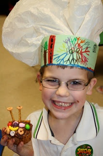 Chef's hat (plastic bag with a construction paper band) and decorate your own cupcakes - Community Helpers and Career Day (Be a Baker for a Day!)