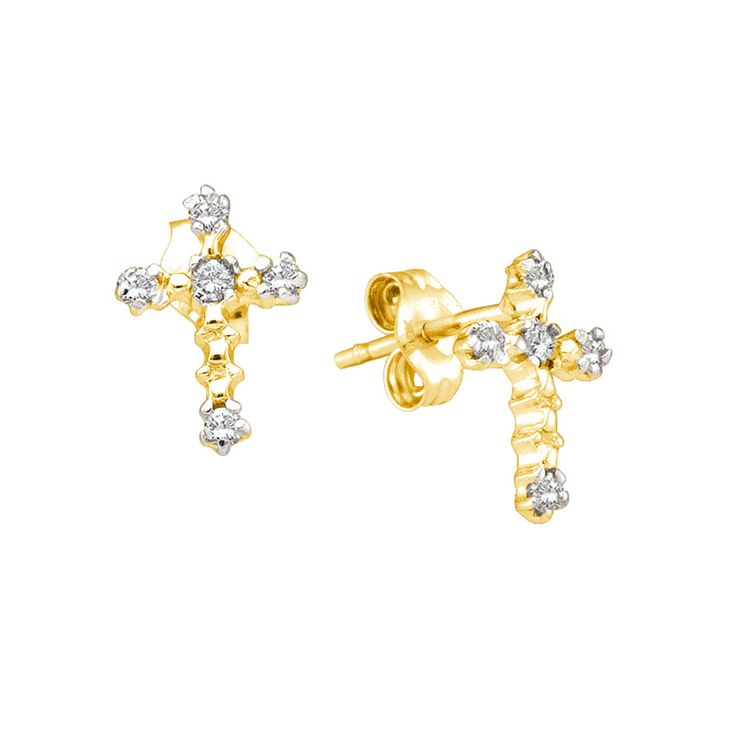 10kt Yellow Gold Womens Round Diamond Cross Faith Earrings 1/20 Cttw 7930