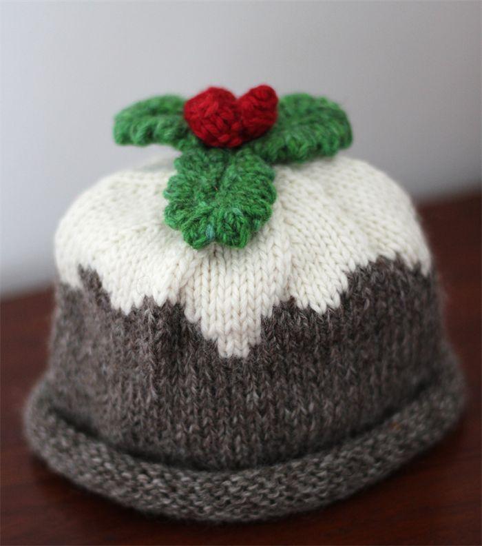 Christmas Pudding - Organic Merino Hand Knitted Baby Hat, newborn - 3 months