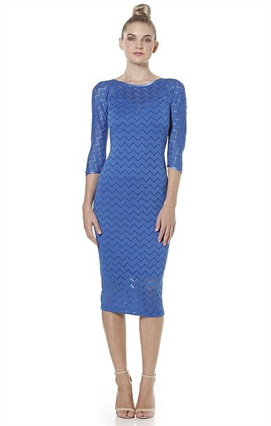 Cocktail - OOH LA LA FITTED 3/4 SLEEVE SWEETHEART NECK STRETCH LACE DRESS IN BLUE