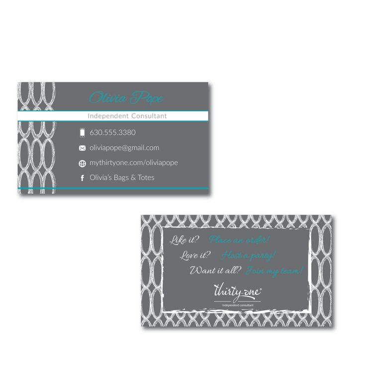 New to JNBStrategies on Etsy: Thirty-One Consultant Business Card Charcoal Links Inspired Design (25.00 USD)