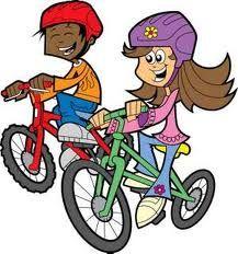 Twho children going cycling.