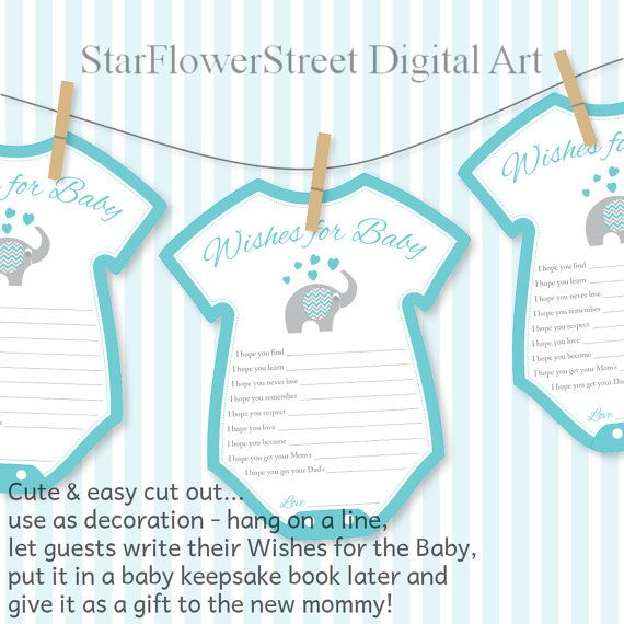 Wishes for Baby Cards Elephant Printable by StarFlowerStreetDA
