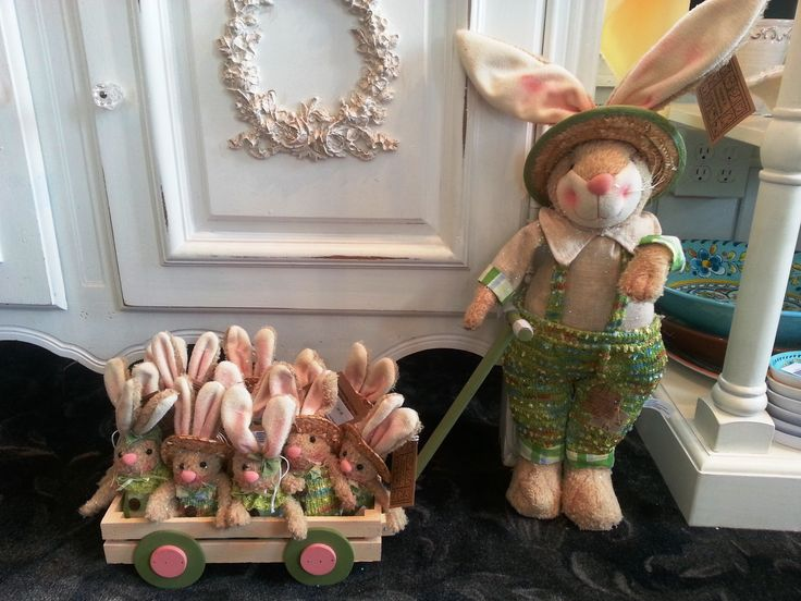 Baby bunnies in wagon and big bunny!