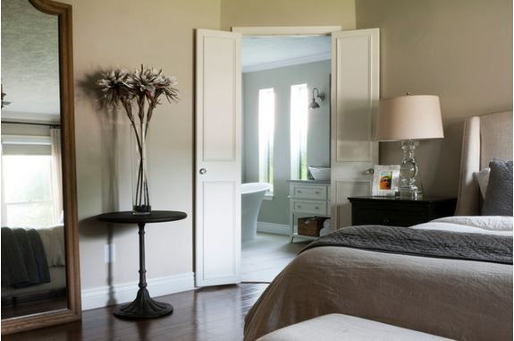 space saving idea for a small bathroom - small doors hung like French doors in standard width doorway - master suite by Angela Flournoy, via Houzz