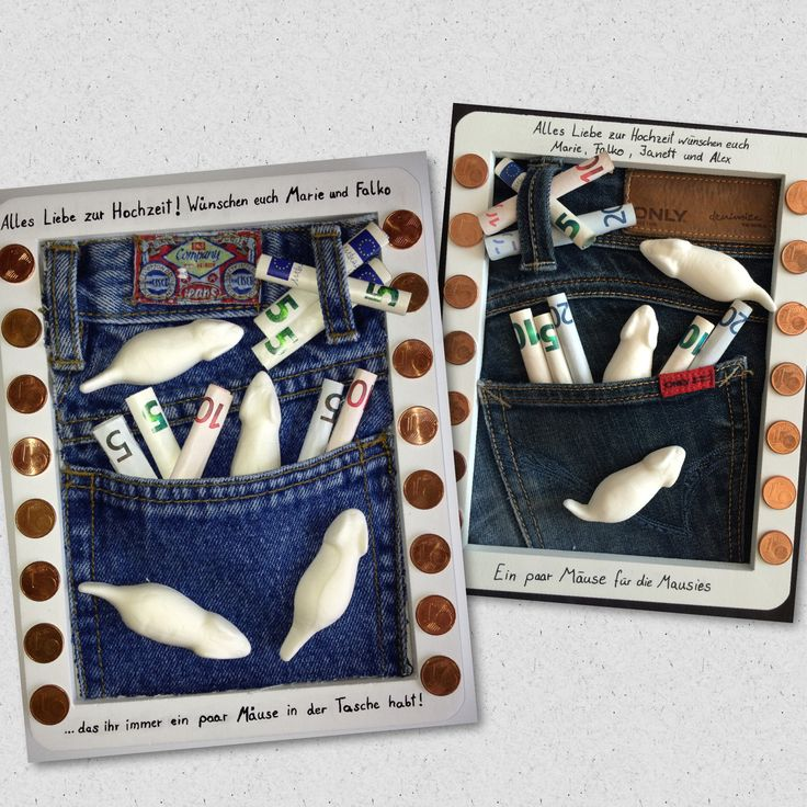 Geldgeschenk / Mäuse in der Tasche / Jeans / Bilderrahmen / Hochzeit / Geburtstag