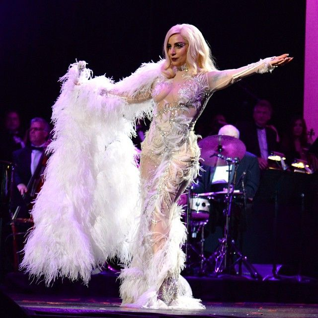 "Lady Gaga wore a custom made ‪Roberto Cavalli Atelier‬ design for her ""Cheek to Cheek Tour"" show with Tony Bennett in Los Angeles, right after their win at the 2015 ‪GRAMMYs‬ for the Best Tradition Pop Vocal ALbUm!"