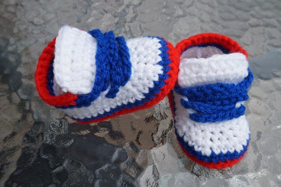 Crochet Baby Shoes. Nike Style Crochet Sneakers. White Blue and Red Nike Shoes