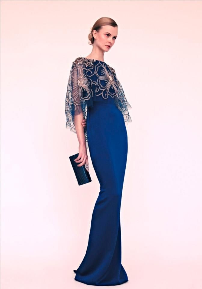 Marchesa Resort 2013 featured fashion designers / in baby pink gown and deep magenta top kimono