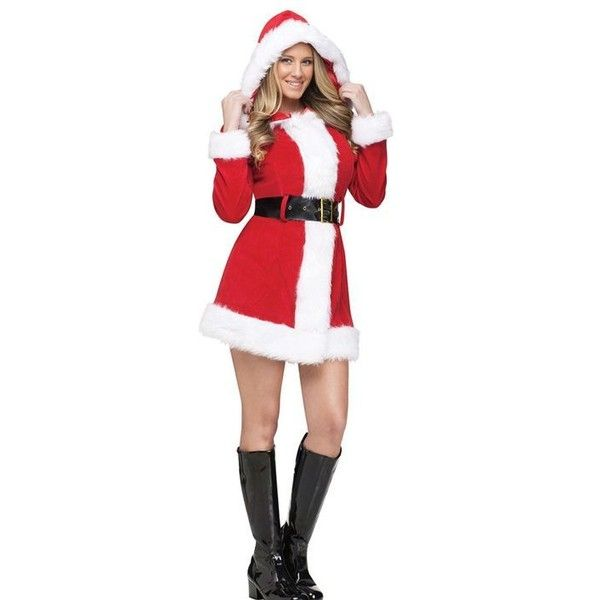 Merry Ms Santa Womens Costume ❤ liked on Polyvore featuring costumes, christmas costumes, womens santa claus costume, santa claus costume, womens santa costume and santa costume