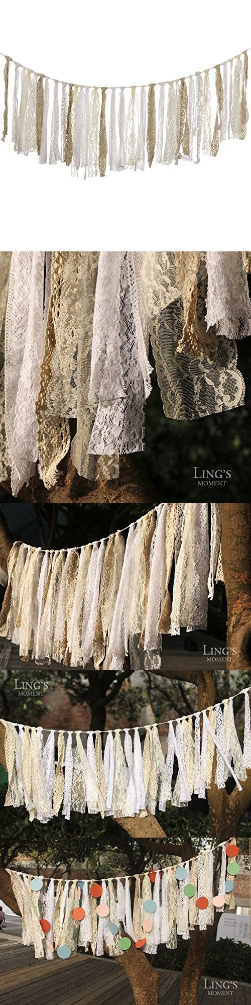 Ling's moment Lace Garland, Shabby Chic Garland Rag Tie Banner, Rustic Wedding Garland, Lace Tassel Banner, Boho Chic Lace Bunting, Pastel Garland, Party Decor, Photo Prop, Shabby Lace Garland 4 FT